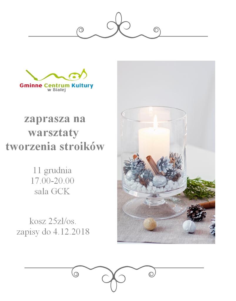 Plakat promujący warsztaty tworzenia stroików świątecznych.jpeg
