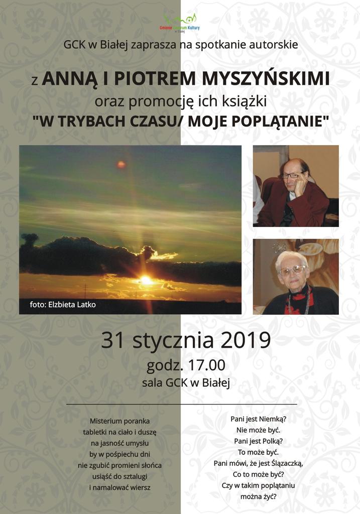 Plakat promujący spotkanie z Anną i Piotrem Myszyńskimi