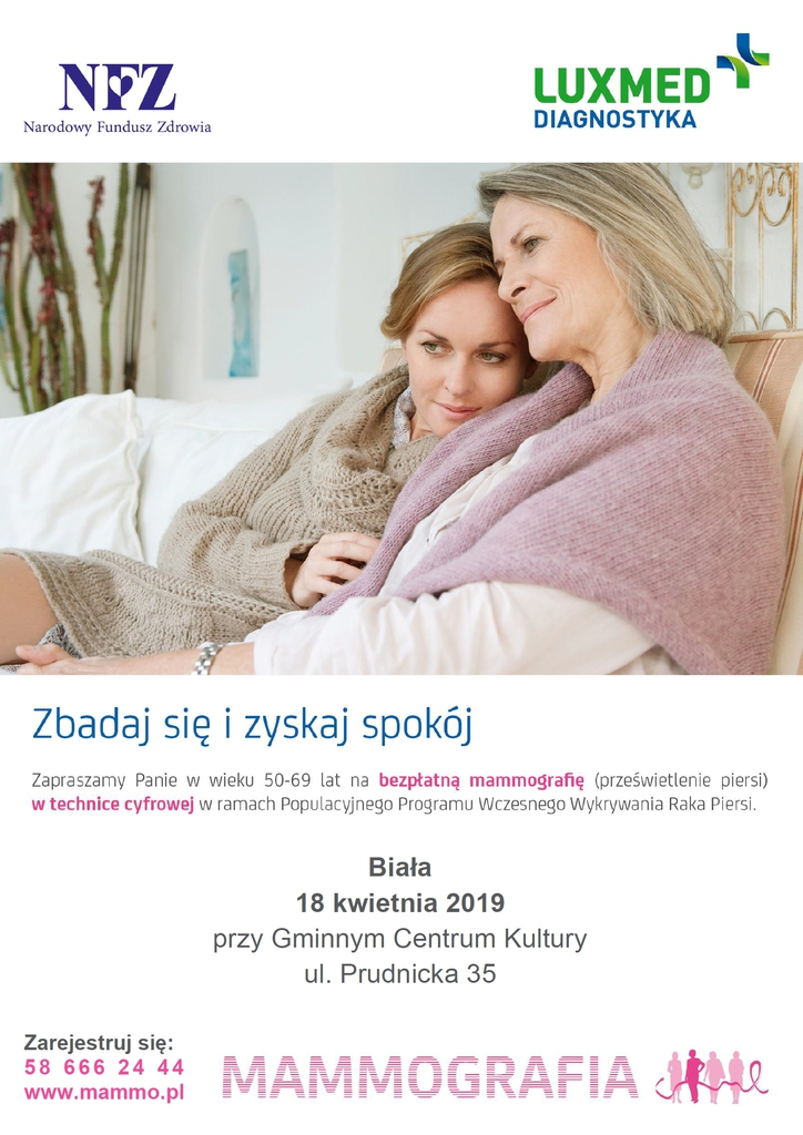 Plakat promujący badania mammograficzne