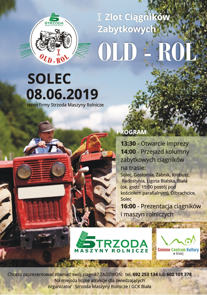 Plakat promujący I zlot ciągników zabytkowych OLD ROL