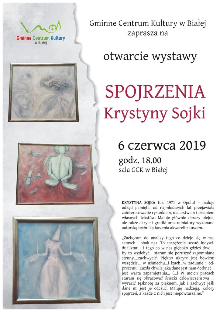 Plakat promujący otwarcie wystawy malarstwa Krystyny Sojki