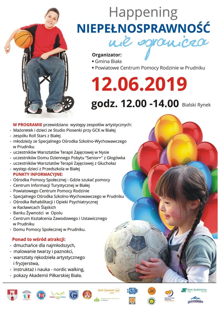 """Plakat promujący happening """"Niepełnosprawność nie ogranicza"""""""