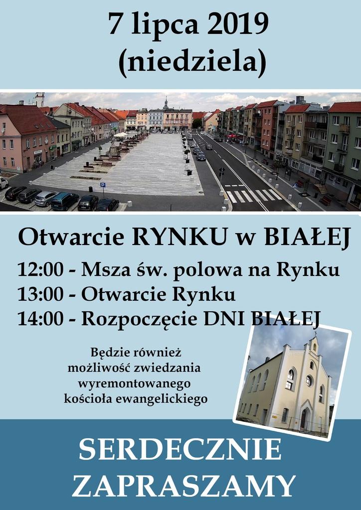 Plakat promujący otwarcie rynku w Białej