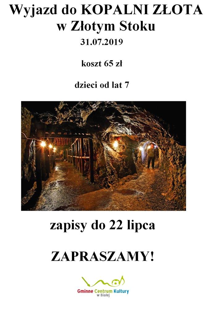 Plakat promujący wycieczkę do Złotego Stoku