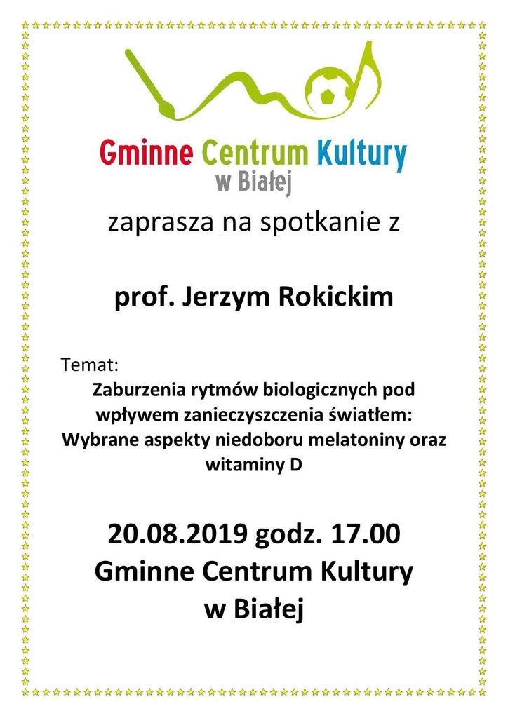 Plakat promujący spotkanie z Jerzym Rokickim