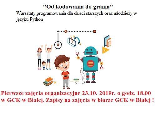 """Plakat promujący zajęcia """"Od kodowania do grania"""""""