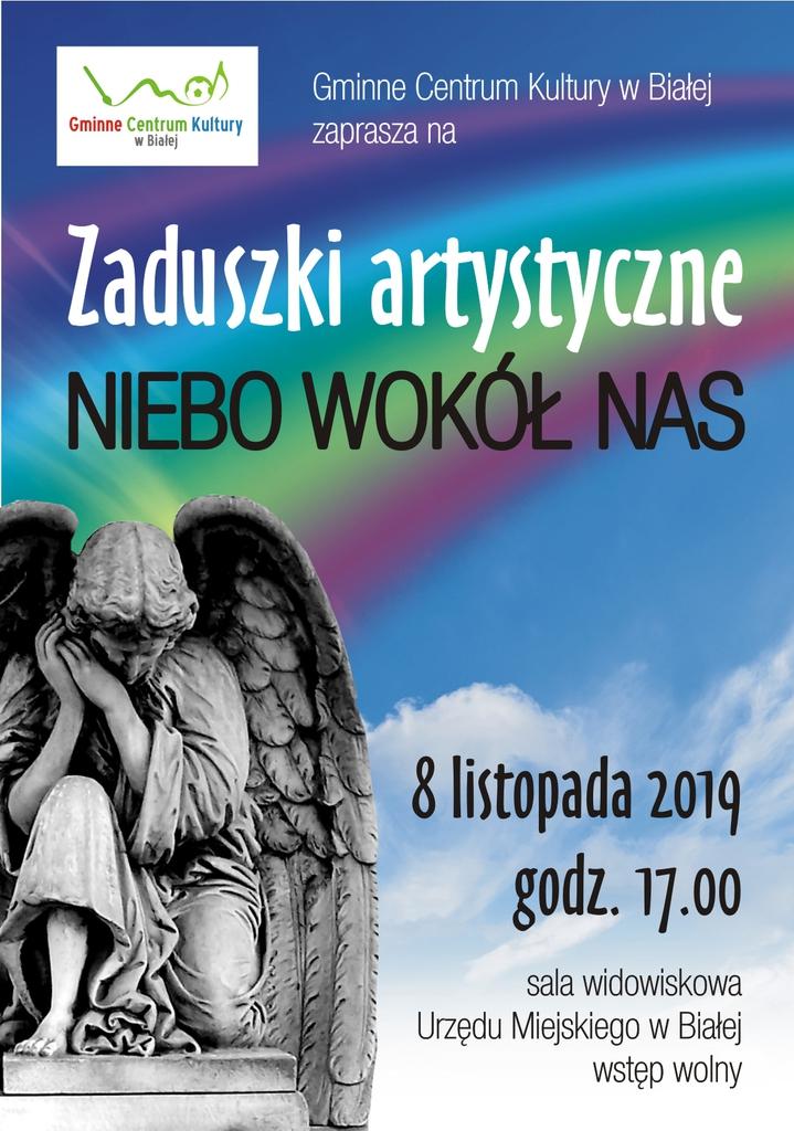 """Plakat promujący zaduszki artystyczne """"Niebo wokół nas"""""""