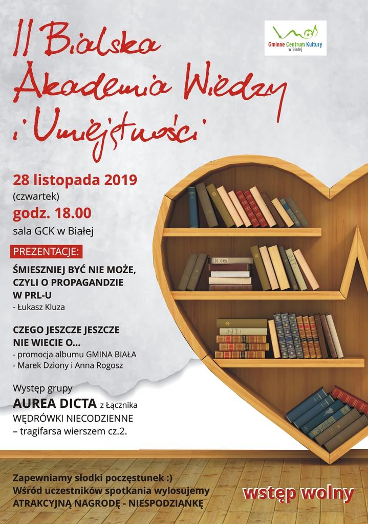 Plakat promujący Bialską Akademię Wiedzy II