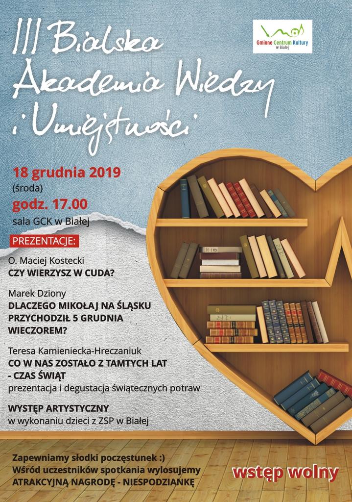 Plakat promujący Bialską Akademię Wiedzy III