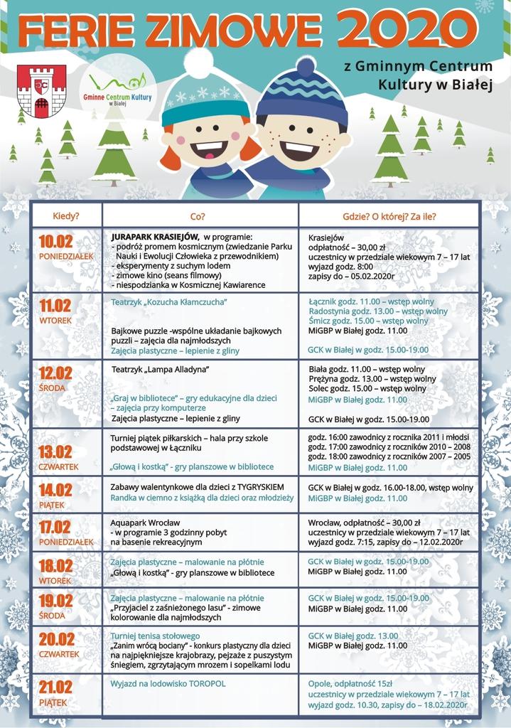 Oferta zajęć i atrakcji na ferie zimowe 2020