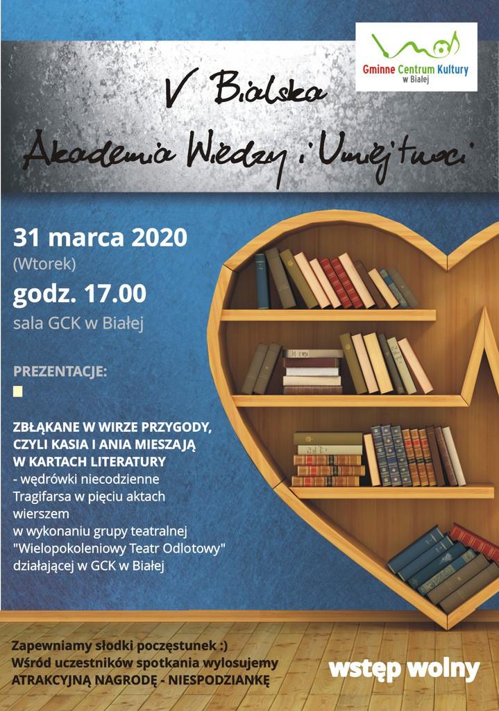 Plakat promujący Bialską Akademię Wiedzy