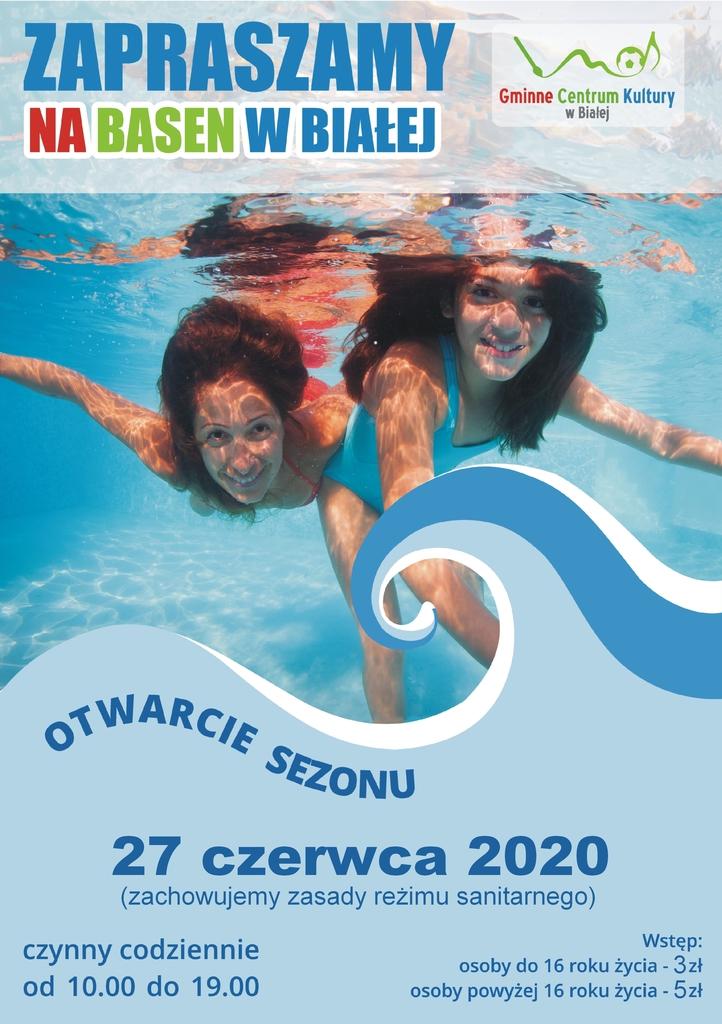 Zdjęcie przedstawia grafikę informującą o otwarciu basenu 27 czerwca 2020