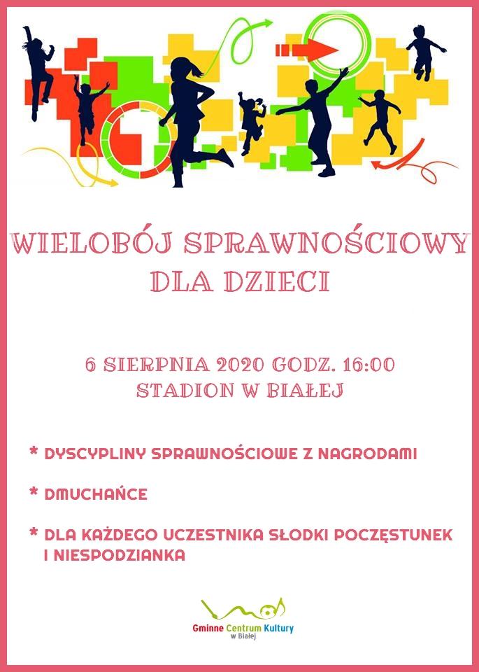 Zdjęcie przedstawia plakat promujący wielobój sprawnościowy dla dzieci