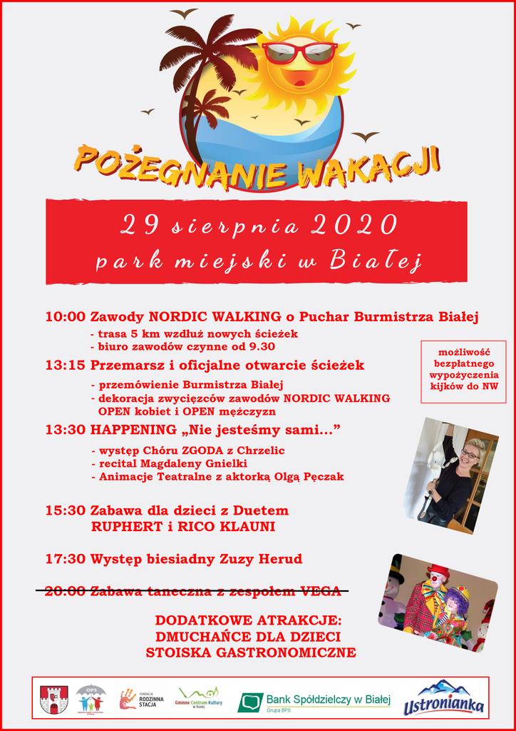 Zdjęcie przedstawia plakat promujący imprezę Pożegnanie wakacji 2020