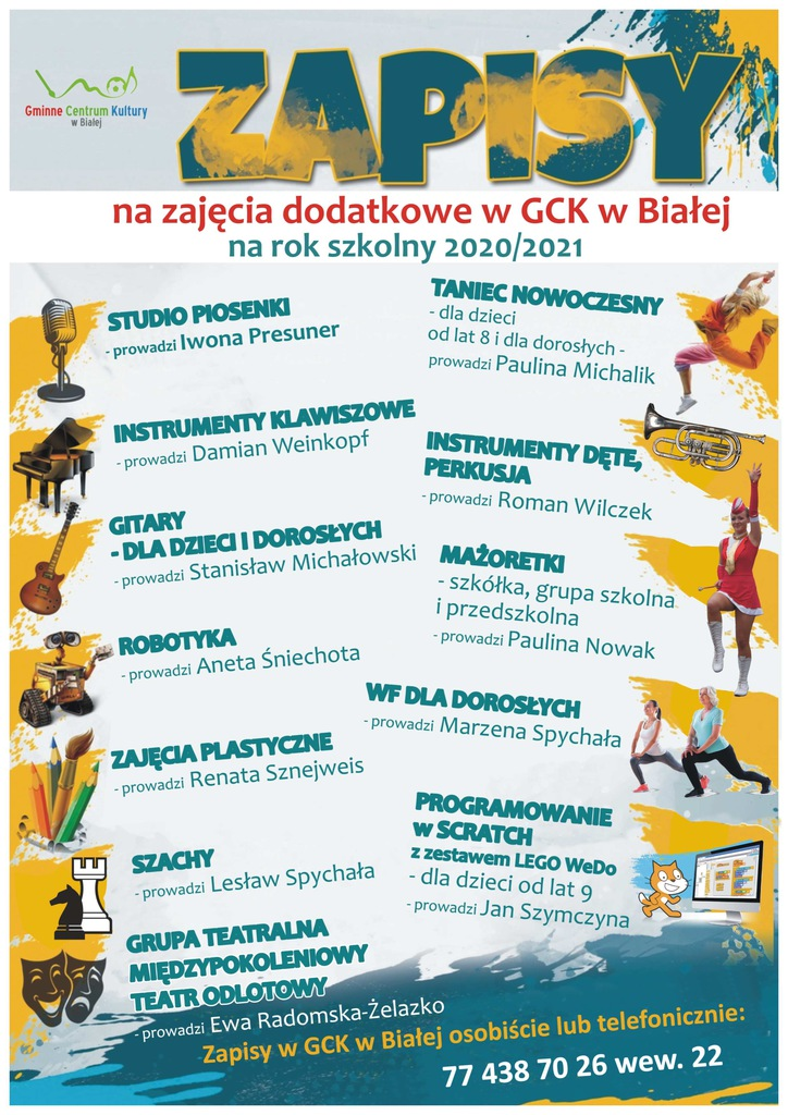 Plakat zawiera ofertę zajęć dla dzieci i młodzieży