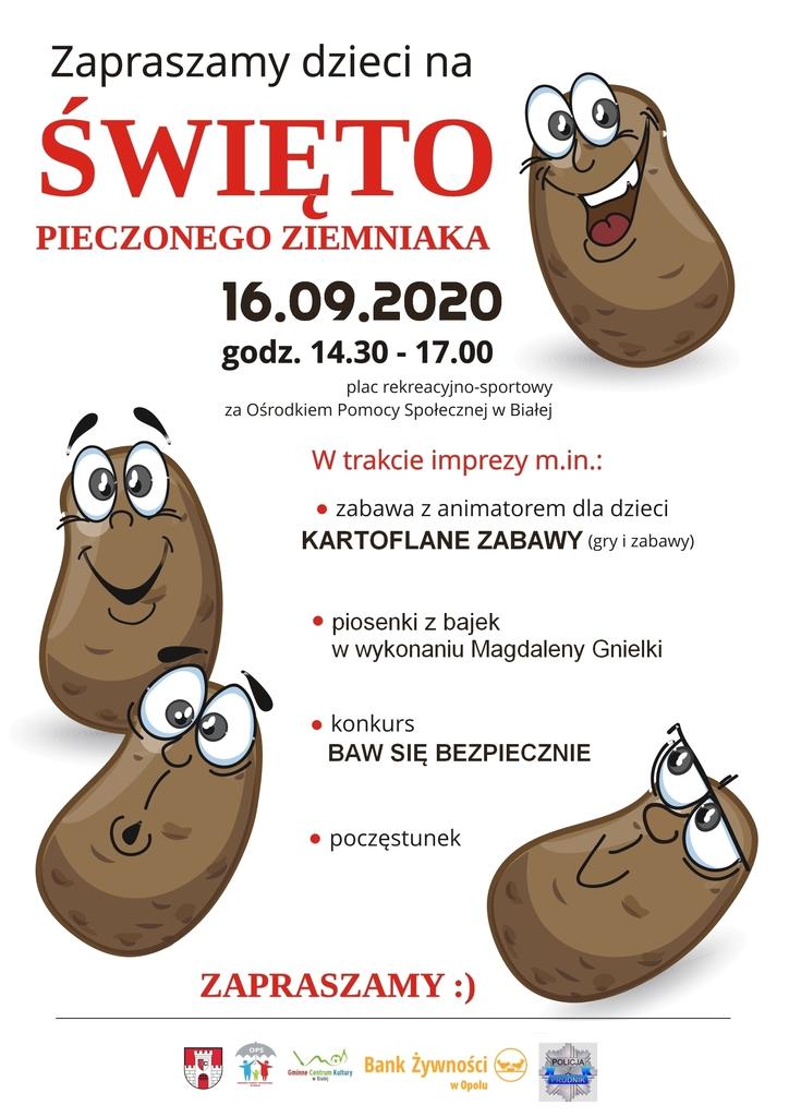Zdjęcie przedstawia plakat promujący imprezę Święto Pieczonego Ziemniaka 2020