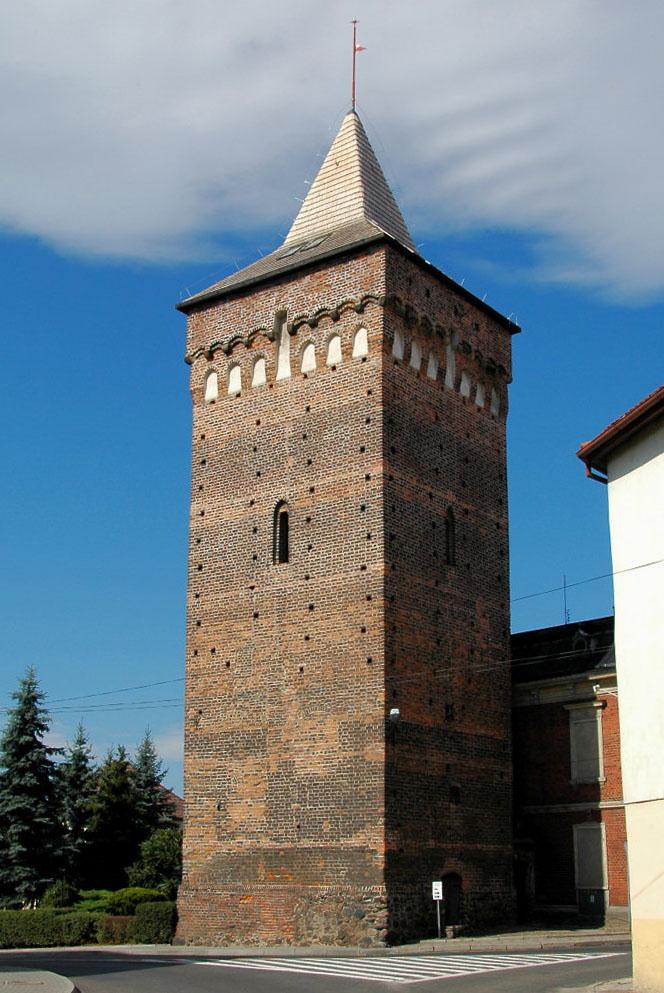 Zdjęcie przedstawia widok na Wieżę Prudnicką