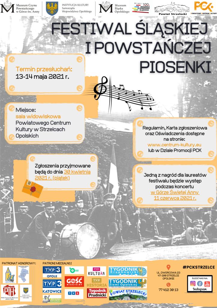Zdjęcie przedstawia plakat promujący Festiwal Śląskiej i Powstańczej Piosenki  organizowany w związku z obchodami trzeciego powstania śląskiego