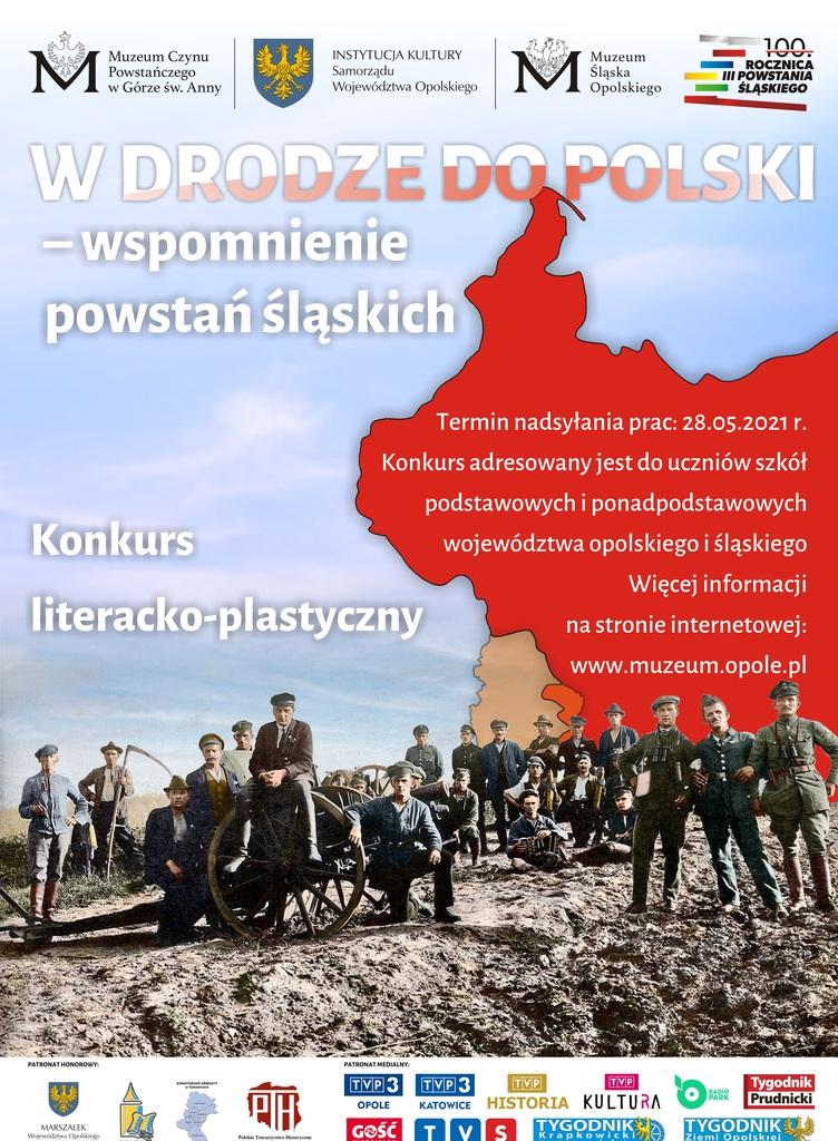 Zdjęcie przedstawia plakat promujący konkurs plastyczno-literacki dotyczący obchodów trzeciego powstania śląskiego. Organizatorem jest Muzeum Czynu Powstańczego na Górze Św. Anny