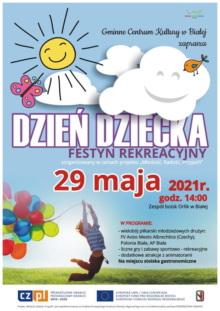 Grafika przedstawia plakat promujący imprezę organizowaną przez Gminne Centrum Kultury w Białej z okazji dnia dziecka