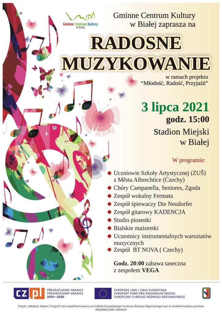 Zdjęcie przedstawia plakat promujący imprezę plenerową organizowaną przez Gminne Centrum Kultury w Białej