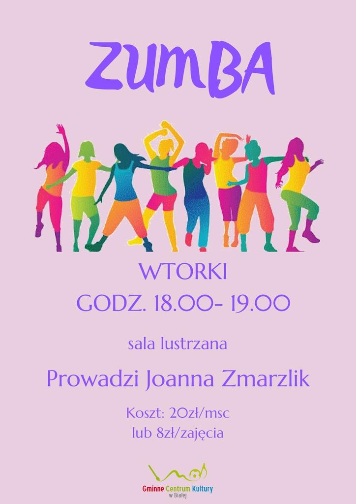 Grafika przedstawia plakat promujący zajęcia zumby w Gminnym Centrum Kultury w Białej