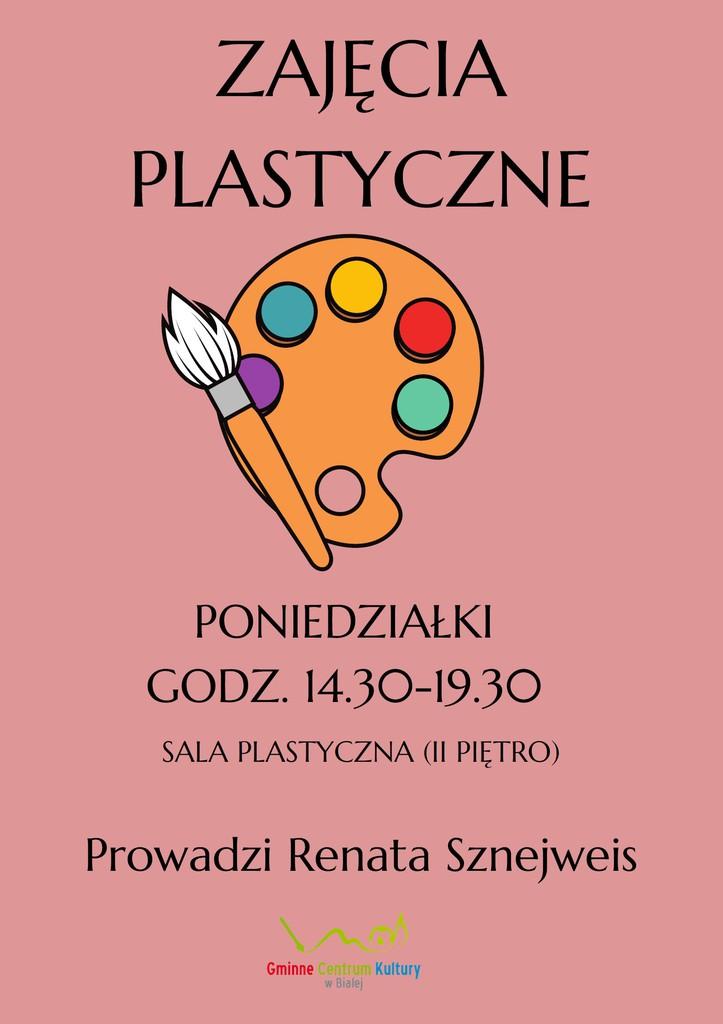 Grafika przedstawia plakat promujący zajęcia plastyczne w GCK w Białej.jpeg