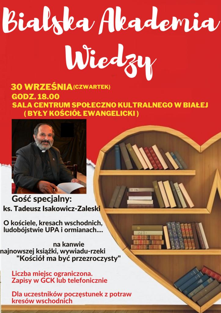 Grafika przedstawia plakat promujący Bialską Akademię Wiedzy