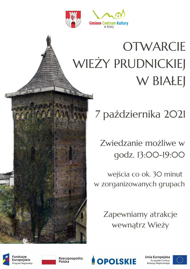 Grafika przedstawia plakat promujący otwarcie Wieży Prudnickiej w Białej