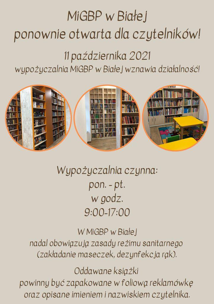 Grafika przedstawia plakat promujący otwarcie biblioteki z nowym wyposażeniem