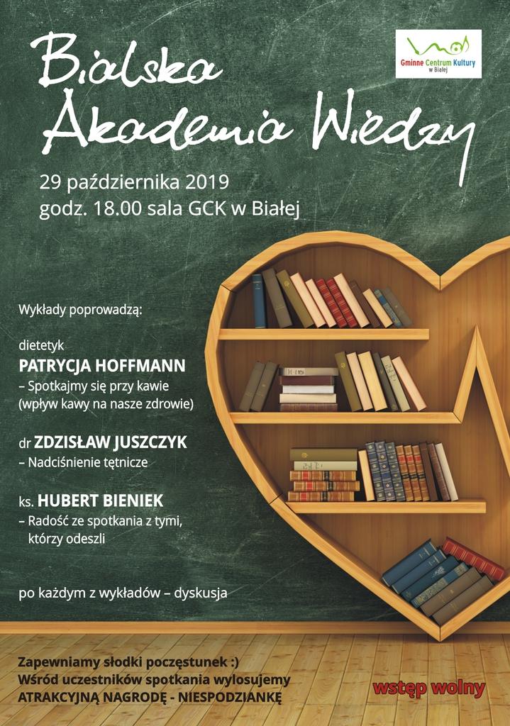 Plakat promujący Bialską Akademię Wiedzy I