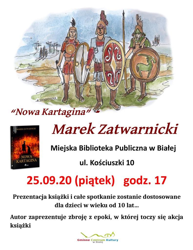 Zdjęcie przedstawia plakat promujący spotkanie z pisarzem