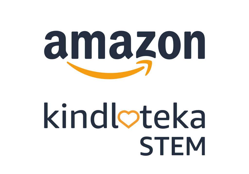 Zdjęcie przedstawia logo firmy Amazon oraz programu STEM Kindloteka