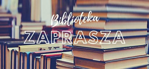 Zdjęcie przedstawia ułożone książki oraz napis który brzmi Biblioteka zaprasza