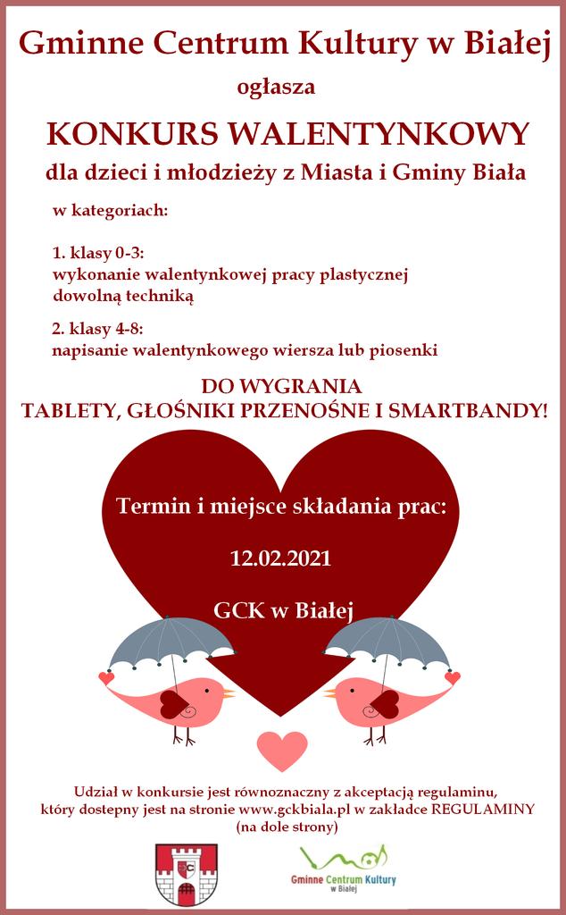 Grafika przedstawia plakat dotyczący konkursu walentynkowego organizowanego przez Gminne Centrum Kultury w Białej
