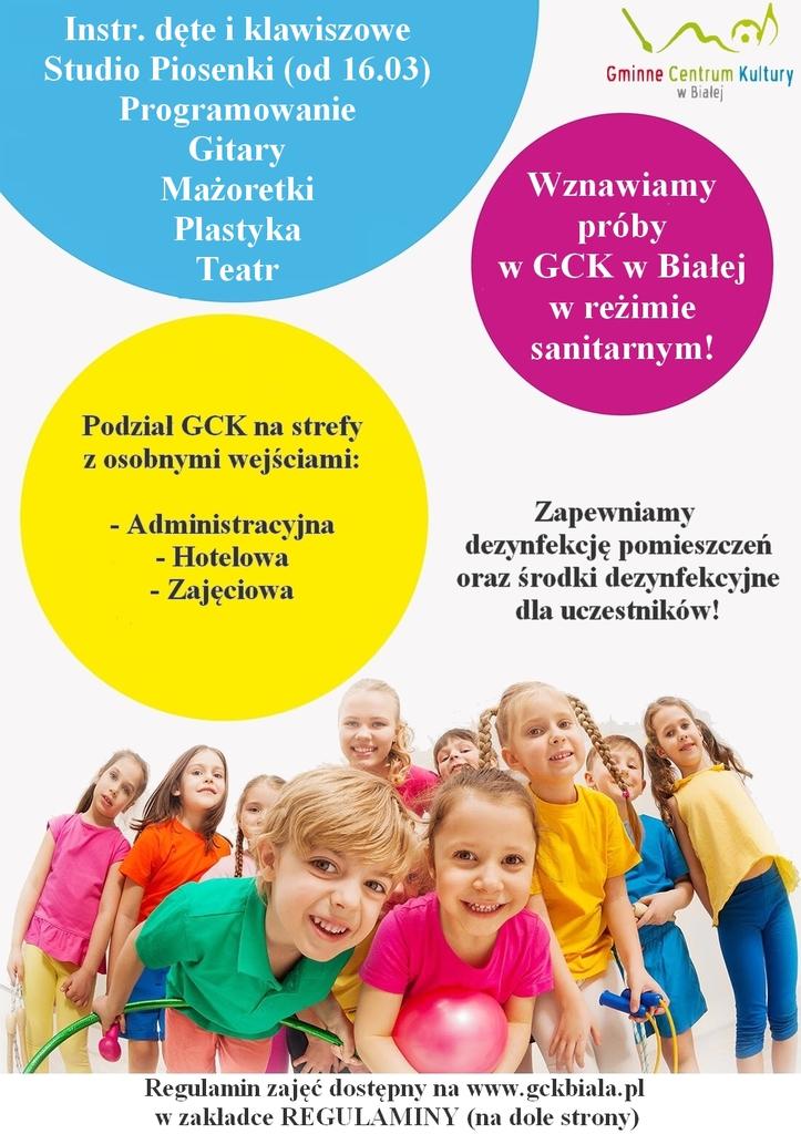 Zdjęcie przedstawia plakat promujący wznowienie prób i ćwiczeń w Gminnym Centrum Kultury w Białej