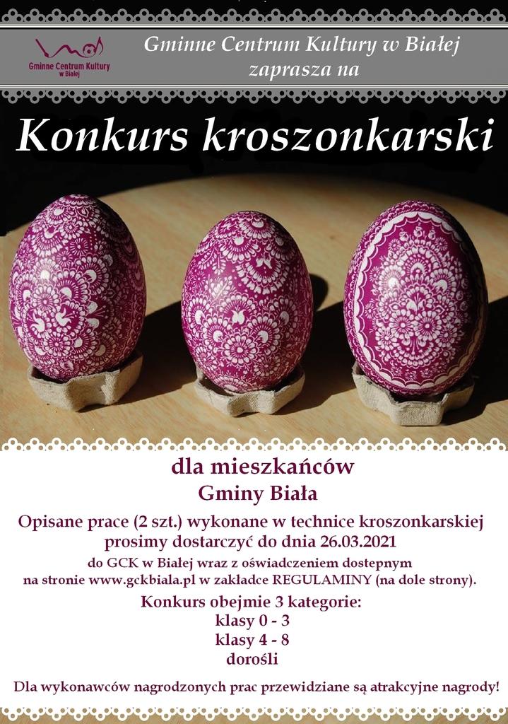 Plakat przedstawia zaproszenie do wzięcia udziału w konkursie kroszonkarskim dla mieszkańców Gminy Biała
