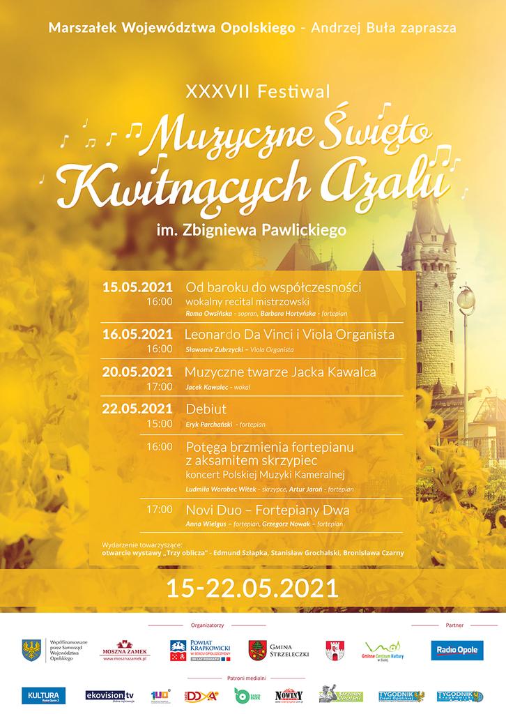 Zdjęcie przedstawia plakat promujący Muzyczne Święto Kwitnących Azalii