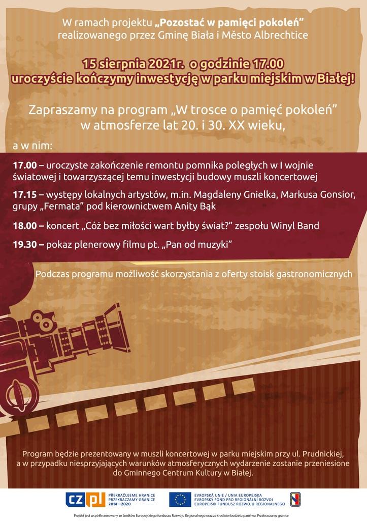Grafika przedstawia plakat promujący imprezę plenerową w ramach projektu Pozostać w pamięci pokoleń