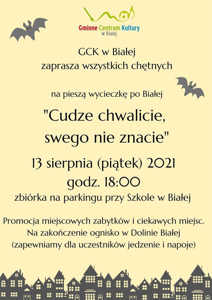 Grafika przedstawia plakat promujący zwiedzanie Białej dnia 13 sierpnia o godzinie 18
