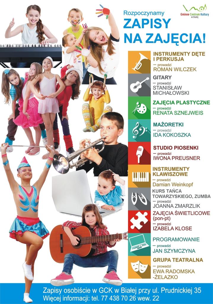 Grafika przedstawia plakat promujący zajęcia w roku 2021 - 2022 organizowane w Gminnym Centrum Kultury w Białej