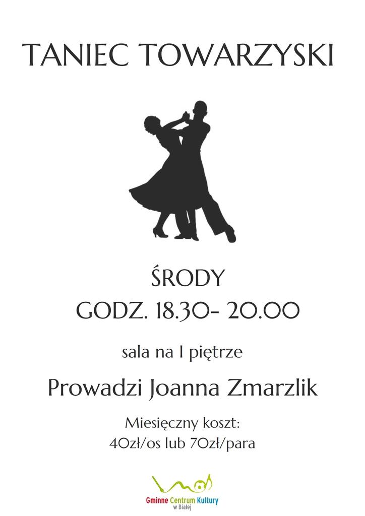 Grafika przedstawia plakat promujący zajęcia z tańca towarzyskiego w Gminnym Centrum Kultury w Białej