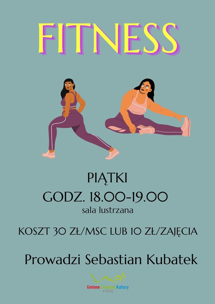 Grafika przedstawia plakat promujący zajęcia fitness w GCK w Białej.jpeg