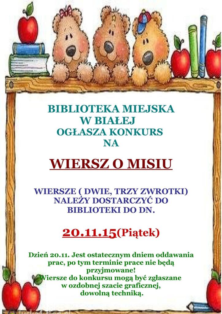 Konkurs Literacki Dla Dzieci Wiersz O Misiu Gminne