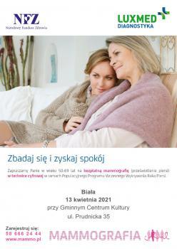Plakat promujący badania mammograficzne 13 kwietnia 2021.jpeg